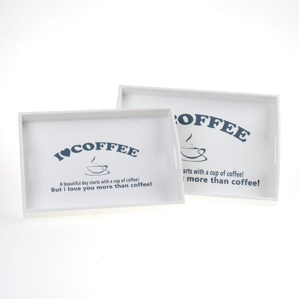 Set 2 drevených podnosov Coffee Lover