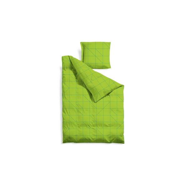 Predĺžené obliečky Green Geometric, 140x220 cm