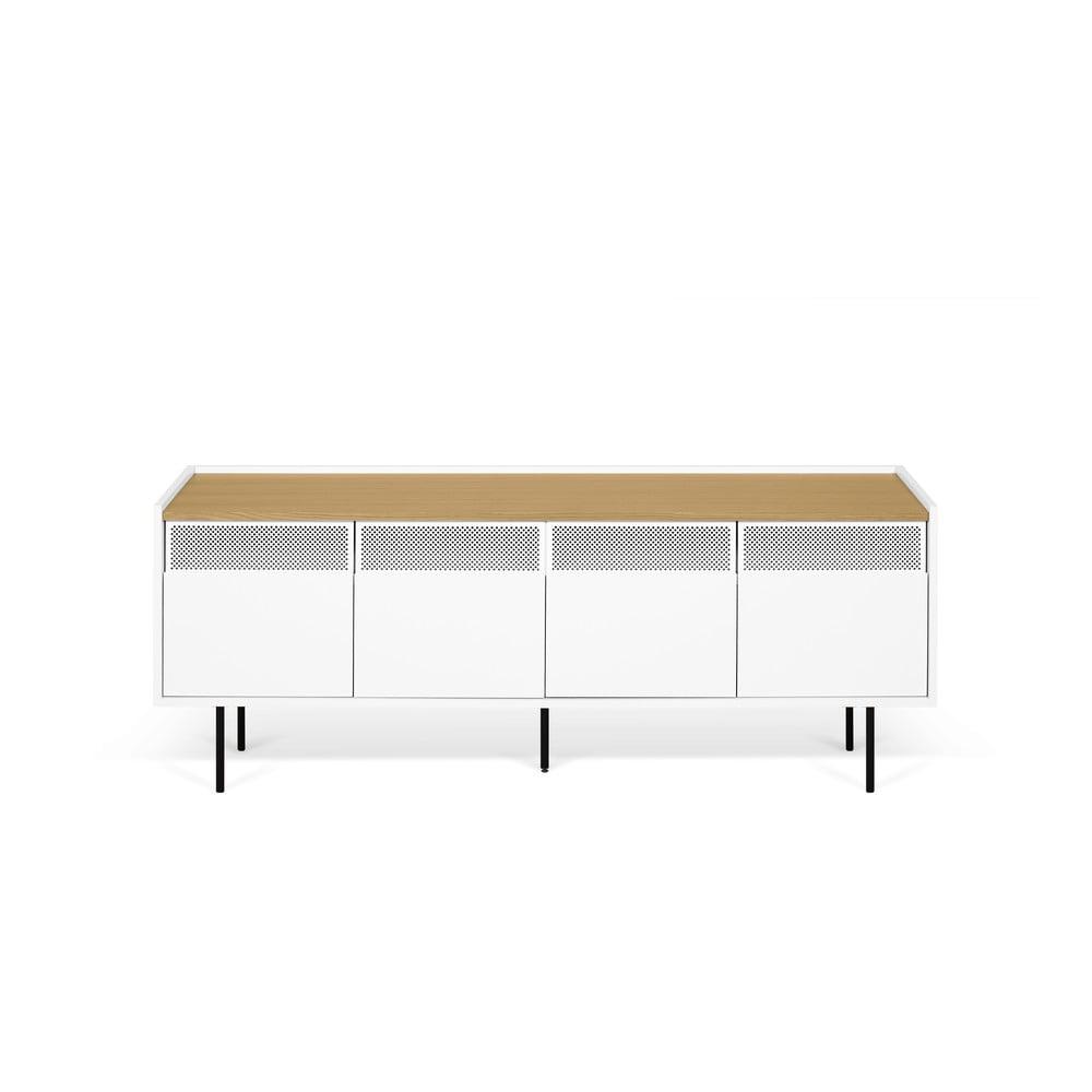 Bielo-hnedý televízny stolík TemaHome Radio, 160 × 60 cm