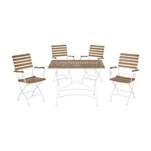 Set záhradného stola a 4 stoličiek z akáciového dreva Safavieh Keira