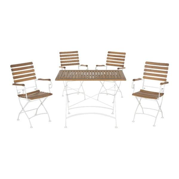 Set záhradného dreveného stola a 4 stoličiek Safavieh Keira