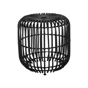 Čierny ratanový odkladací stolík WOOX LIVING
