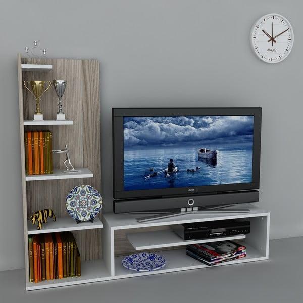 Televízna stena Sleek White/Cordoba, 29,5x160x121,8 cm
