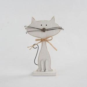 Biela drevená dekorácia v tvare mačky Dakls Cats, výška 18 cm