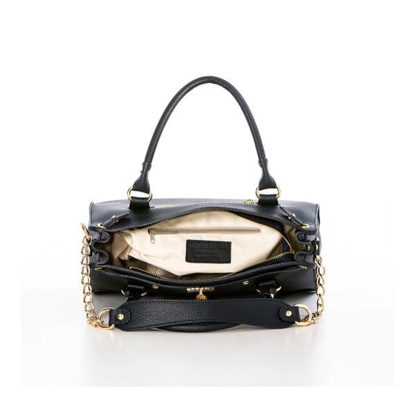Kožená kabelka Federica Bassi Ginna, čierna