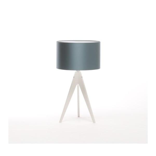 Modrá stolová lampa Artist, biela lakovaná breza, Ø 33 cm