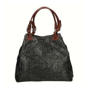 Čierna kožená kabelka Chicca Borse Origono
