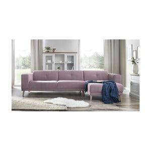 Růžová pohovka s lenoškou a podnožkou Bobochic Paris Luna, pravý roh