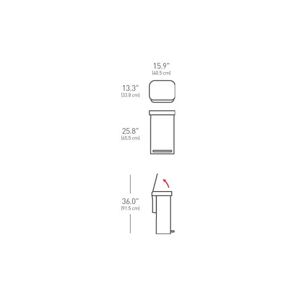 Strieborný matný odpadkový kôš simplehuman, 45 l