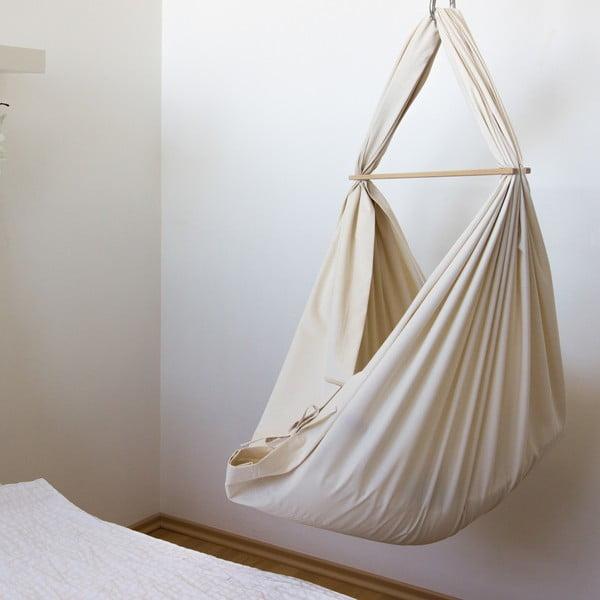 Krémová kolíska z BIO bavlny so zavesením do stropu Hojdavak Baby
