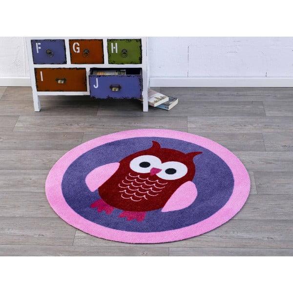 Detský fialový koberec Hanse Home Sova, ⌀100cm