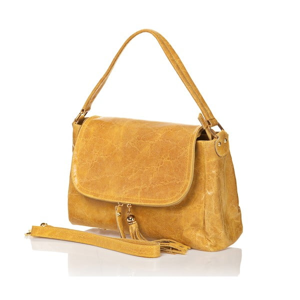 Kožená kabelka Bela, žltá