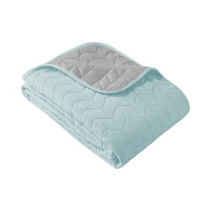 Mätovo zeleno-sivý obojstranný pléd cez posteľ Slowdeco So Simply, 170×210 cm