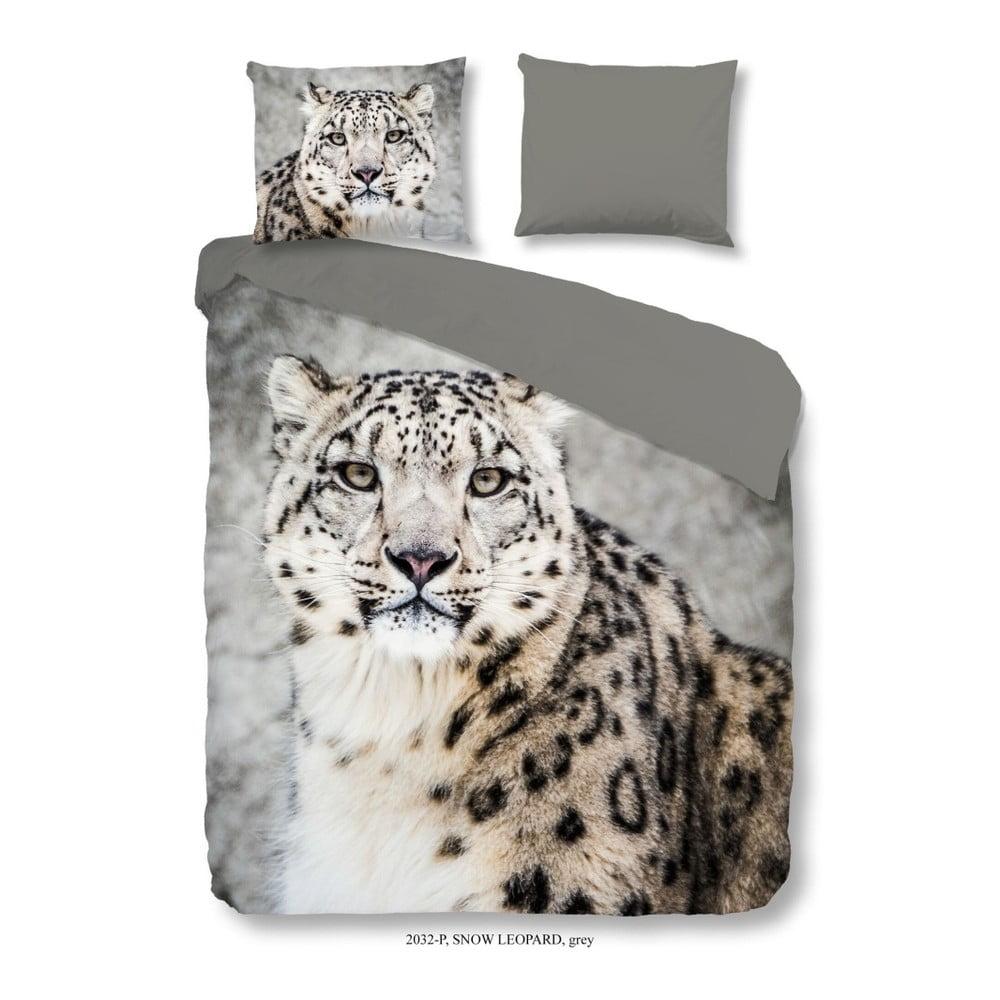 Obliečky na jednolôžko z bavlneného saténu Muller Textiels Good Morning Snow Leopard, 140 × 200 cm