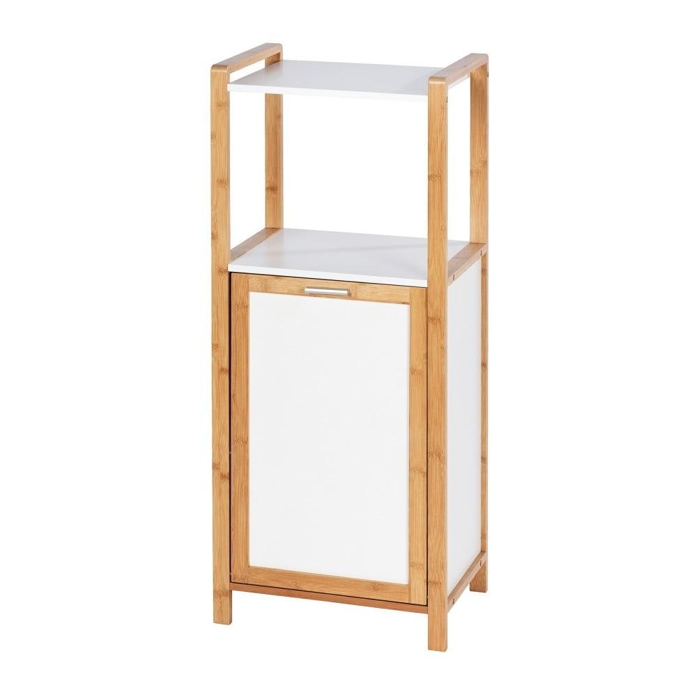 Bambusový kúpeľňový regál so vstavaným košom na prádlo Wenko Finja