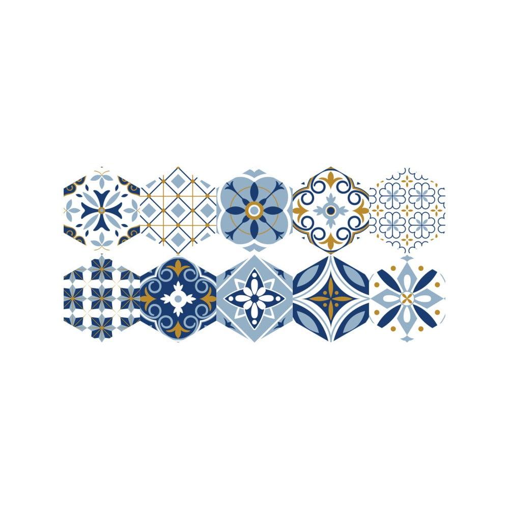 Sada 10 samolepiek na podlahu Ambiance Hexagons Jelilna, 20 × 18 cm