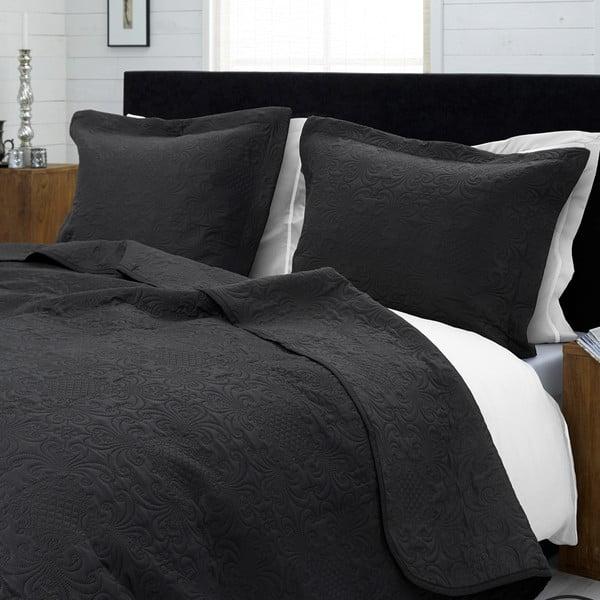 Antracitový pléd cez posteľ s dvomi obliečkami na vankúš Dreamhouse Clara 260 x 250 cm
