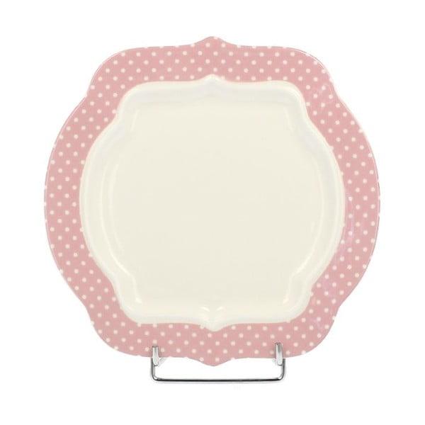 Porcelánový dezertný tanier Retro Pink, 21 cm