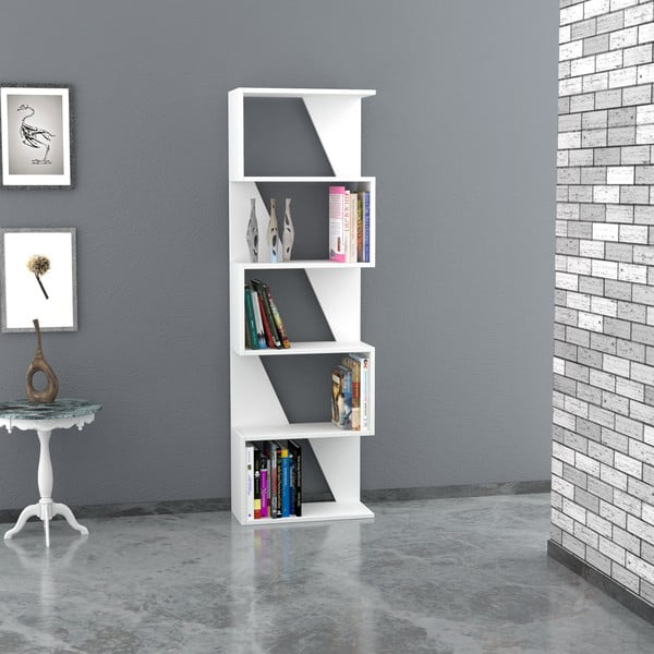 Knižnica Frame 168x54 cm, biela