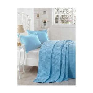 Ľahká prikrývka cez posteľ Boya Blue,200x235cm