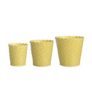 Sada 3 kvetináčov Yellow Zinc