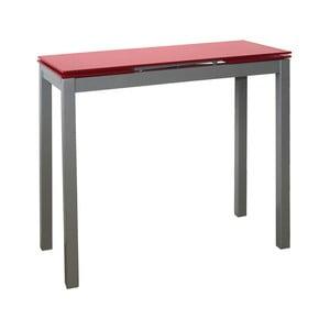 Rozkladací jedálenský stôl s červenou sklenenou doskou Pondecor Cristiano, 40×85cm