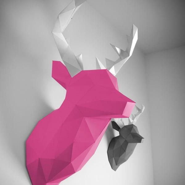Papierová trofej Jeleň XL, ružovo-biely