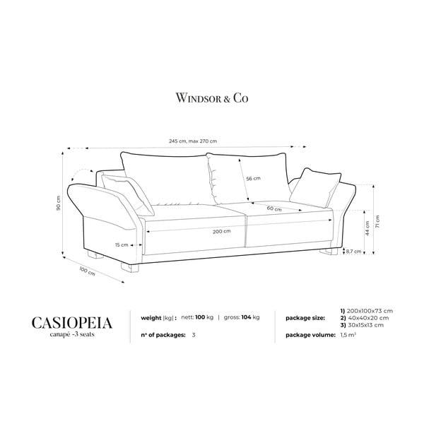 Tmavosivá trojmiestna rozkladacia pohovka Windsor & Co Sofas Casiopeia