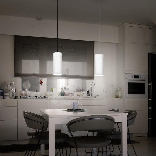 Bielo-strieborné závesné svietidlo s bielym káblom a bielou objímkou Sotto Luce Paipa