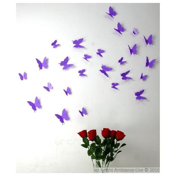 Sada 12 fialových samolepiek Ambiance Butterflies
