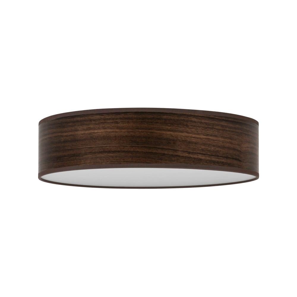 Tmavohnedé stropné svietidlo s tienidlom z prírodnej dyhy Bulb Attack Ocho Clear, ⌀ 40 cm