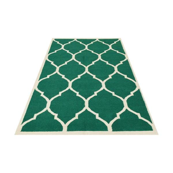 Ručne tkaný zelený koberec Green, 140x200 cm