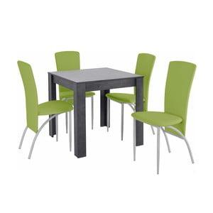 Set jedálenského stola a 4 zelených jedálenských stoličiek Støraa Lori Nevada Duro Slate Green