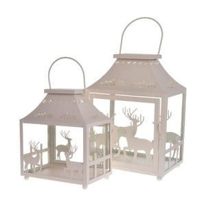 Set 2 lampášov Reindeers Cream