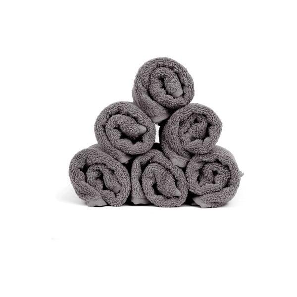 Sada 6 sivých bavlnených uterákov Casa Di Bassi Soft, 30x50 cm