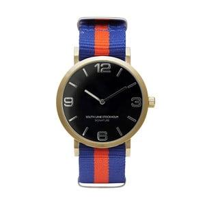 Unisex hodinky s modro-červeným remienkom South Lane Stockholm Signature Black Gold Stripes