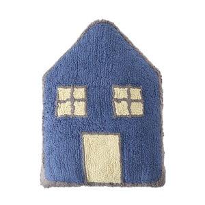 Modrý bavlnený ručne vyrobený vankúš Lorena Canals Little House, 34 x 52 cm