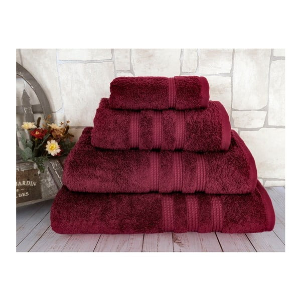 Tmavočervená osuška z česanej bavlny Irya Home Classic, 70×130 cm