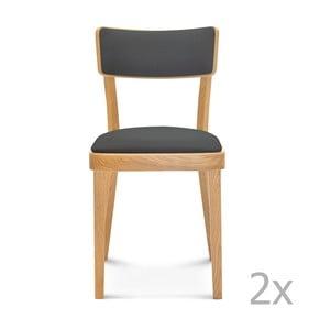 Sada 2 drevených stoličiek so sivým čalúnením Fameg Lone