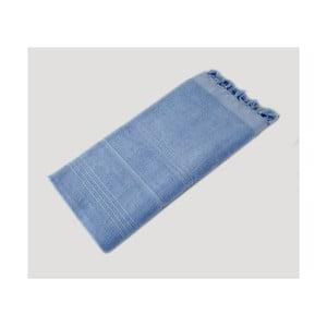 Svetlomodrá ručne tkaná osuška z prémiovej bavlny Homemania Turkish Hammam, 90×180cm