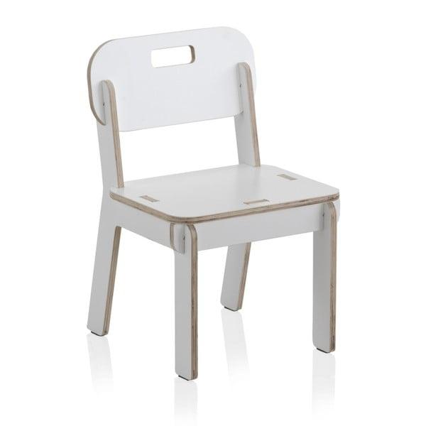 Biela detská stolička z preglejky Geese