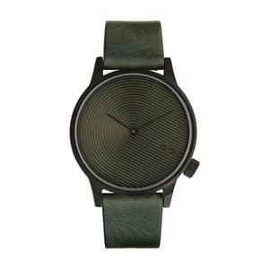 Pánske tmavozelené hodinky s koženým remienkom Komono Deco
