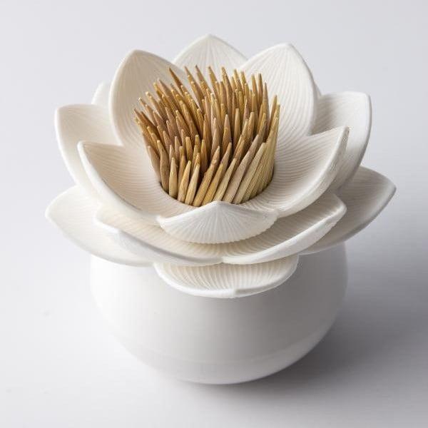 Stoján na špáradlá QUALY Lotus Toothpick, biely-biely