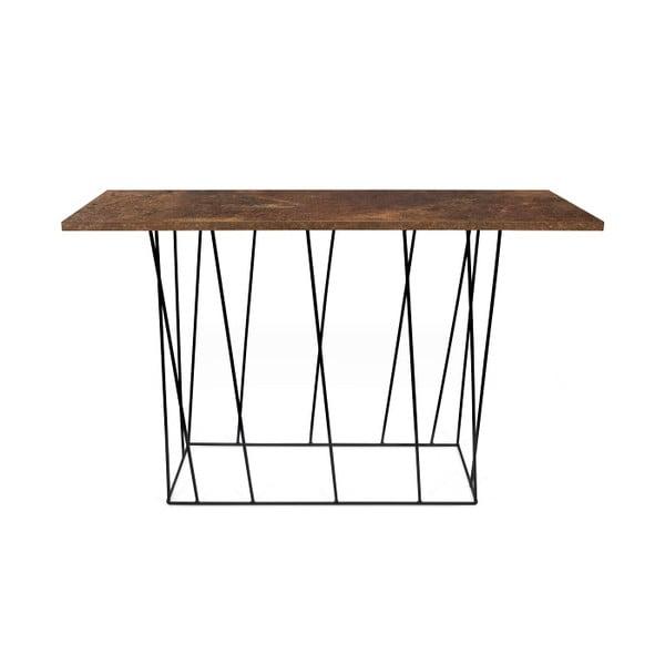 Hnedý konzolový stolík s čiernymi nohami TemaHome Helix