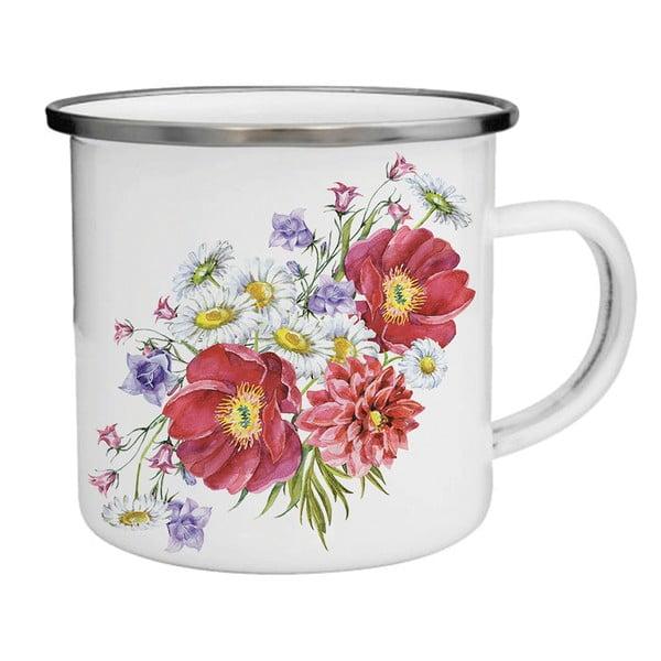 Smaltovaný hrnček s kvetinami TinMan, 200 ml