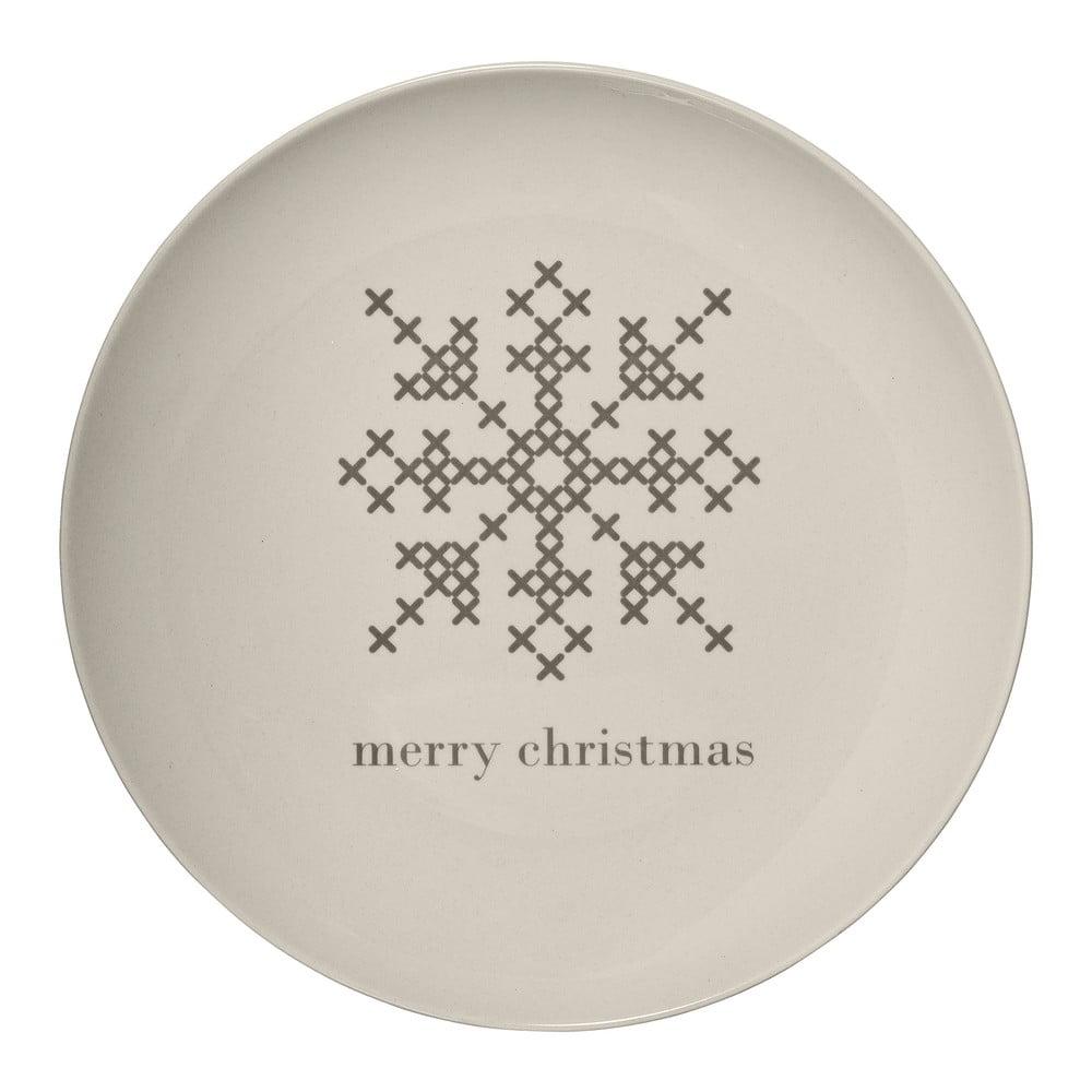 Biely kameninový tanier Bloomingville Cross Christmas, ⌀ 25 cm