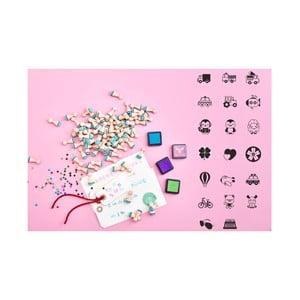 Mini pečiatky Lucky Little Moose Dobrodružná kolekcia, 20 ks + 4 farby