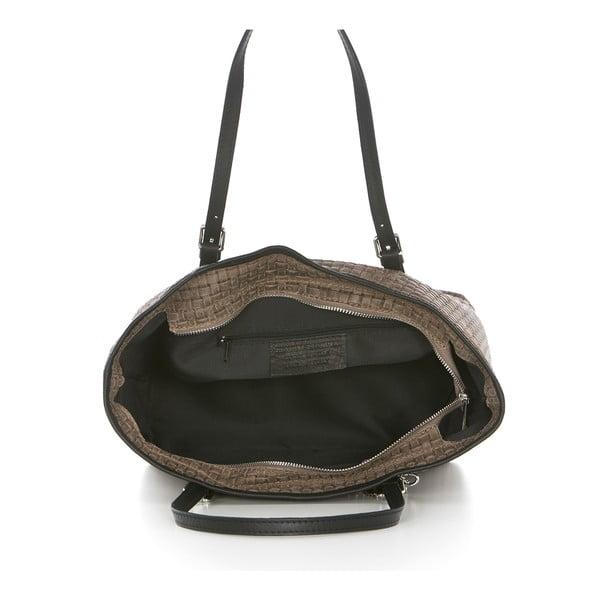 Tmavobéžová kožená kabelka Federica Bassi Alya