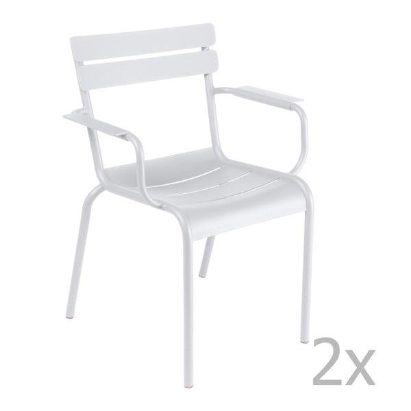 Sada 2 bielych stoličiek s opierkami na ruky Fermob Luxembourg
