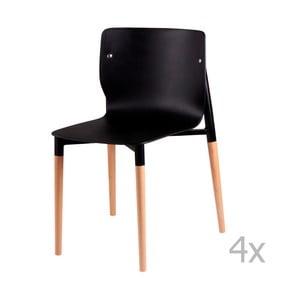 Sada 4 čiernych jedálenských stoličiek sdrevenými nohami sømcasa Alisia
